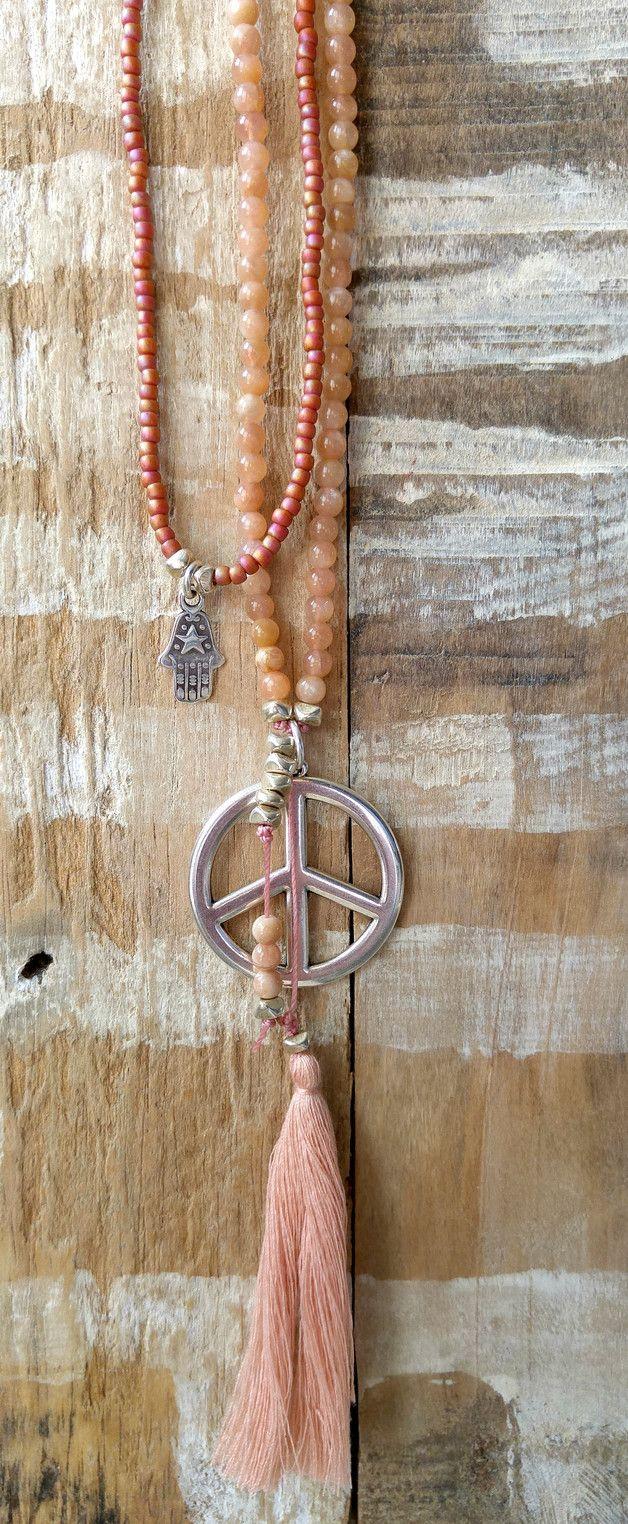 Ketten lang - 2-teilig Kette❉ Peace Sun Stone Halbedelsteine - ein Designerstück von charm_one bei DaWanda