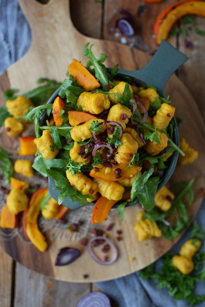 Kürbis Gnocchi Salat - Pumpkin Gnocchi Salad | Das Knusperstübchen