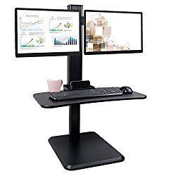 Dual Monitor Desk Converter, Height Adjustable Sit Stand Desk, Standing Desk Workstation, Black
