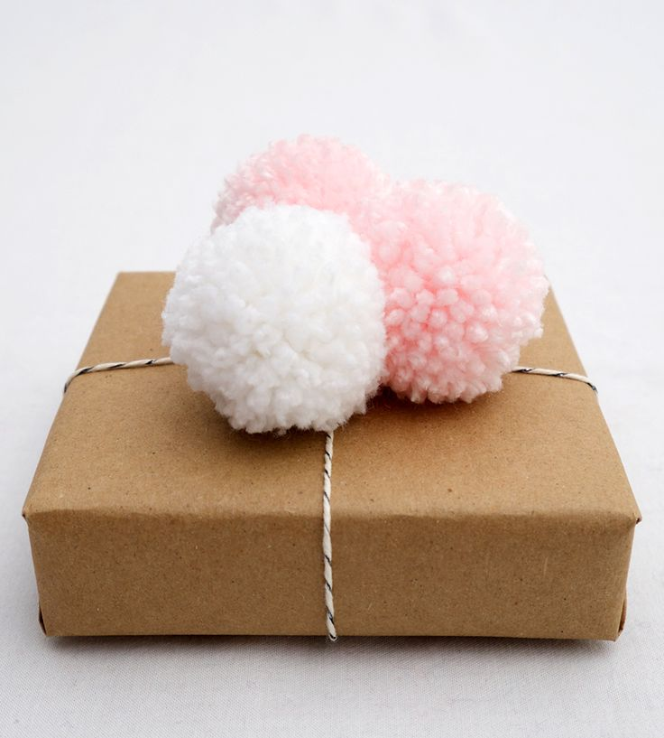 Baby Shower Pom Pom Gift Topper with simple Kraft Paper wrapping paper