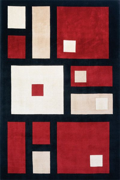 Square Rug Design For Your Modern Home Red, Black, White And Pink Squares On