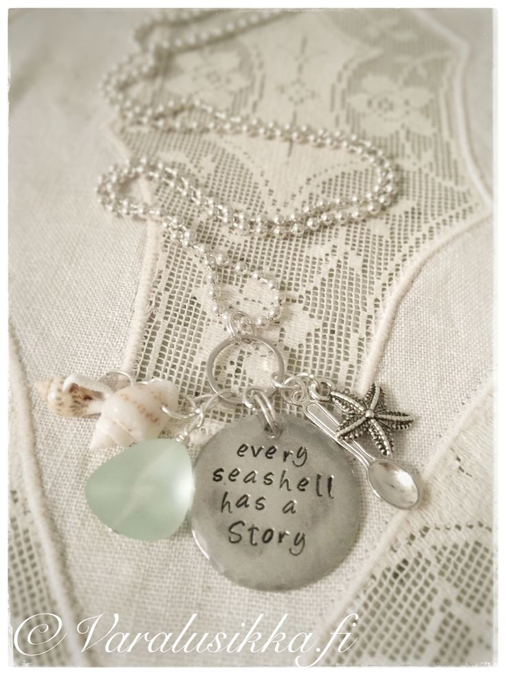 Hand stamped hand made beach spoon necklace with sea glass and sea shells. Every seashell has a story. www.varalusikka.fi