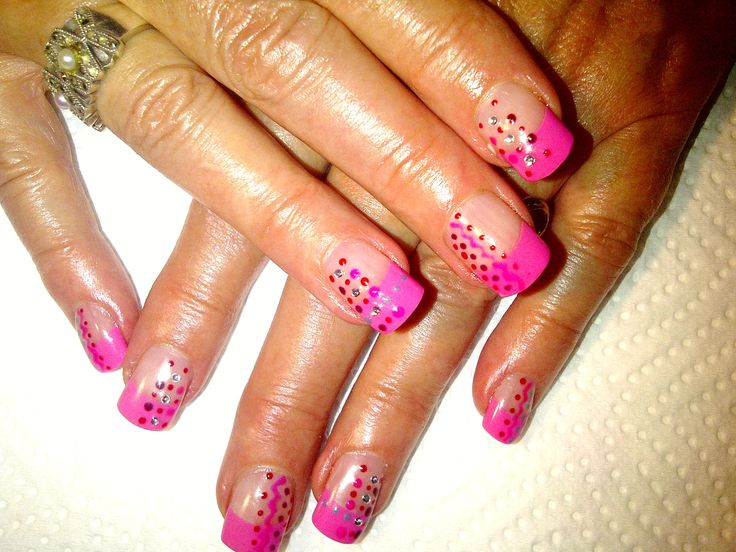 Pink Tip, build with acrylic.  Gel polish (ProGel) design on top.