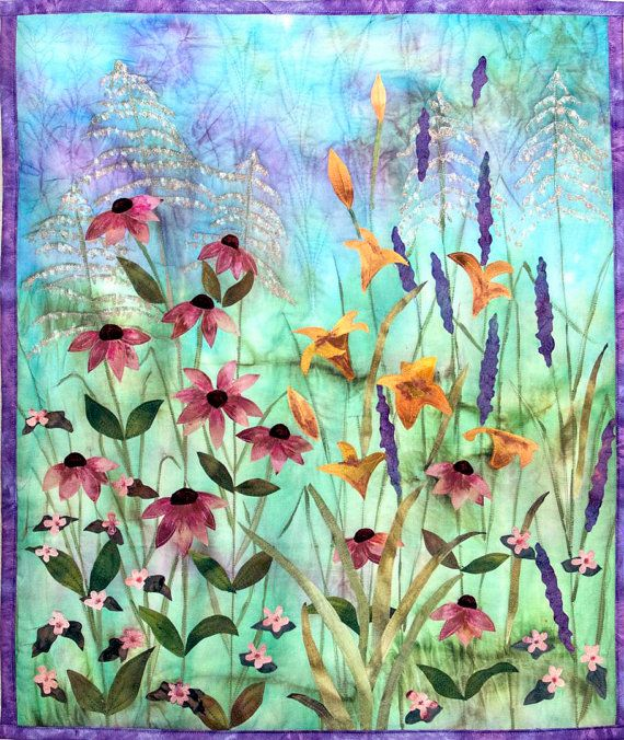 Hand painted fabric art quilt  wildflowers by ArtQuiltsbyGretchen, $175.00
