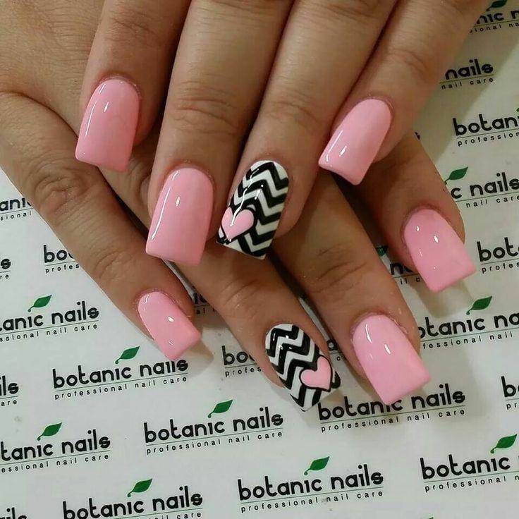 Pink, chevron, heart, botanic nails.