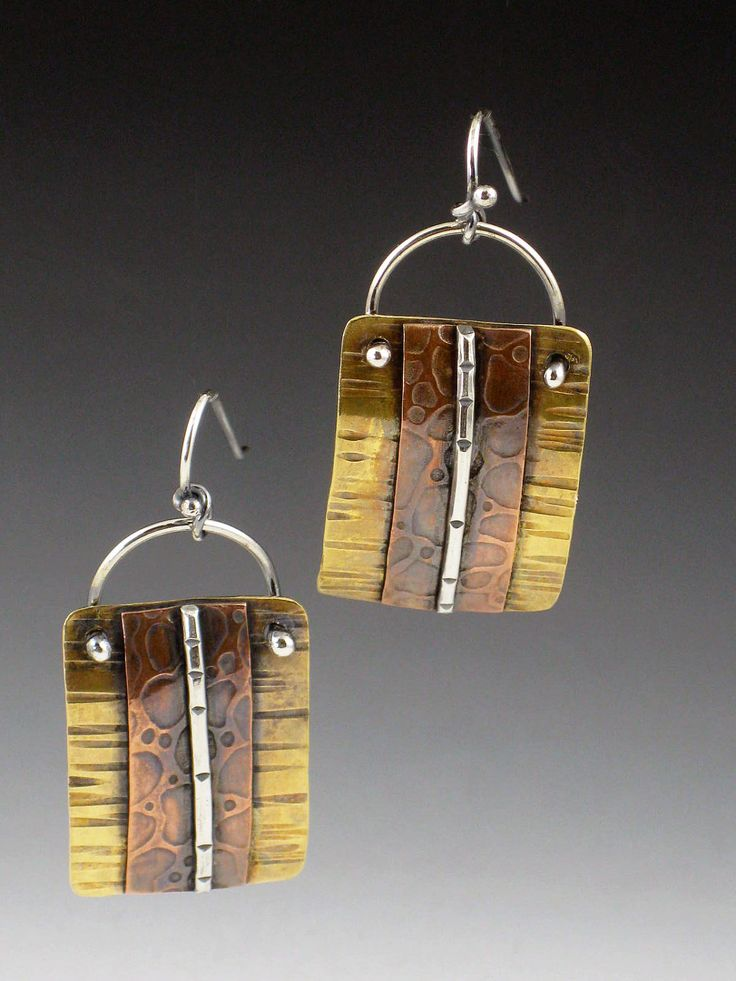 Mixed metal earrings brass copper silver textured