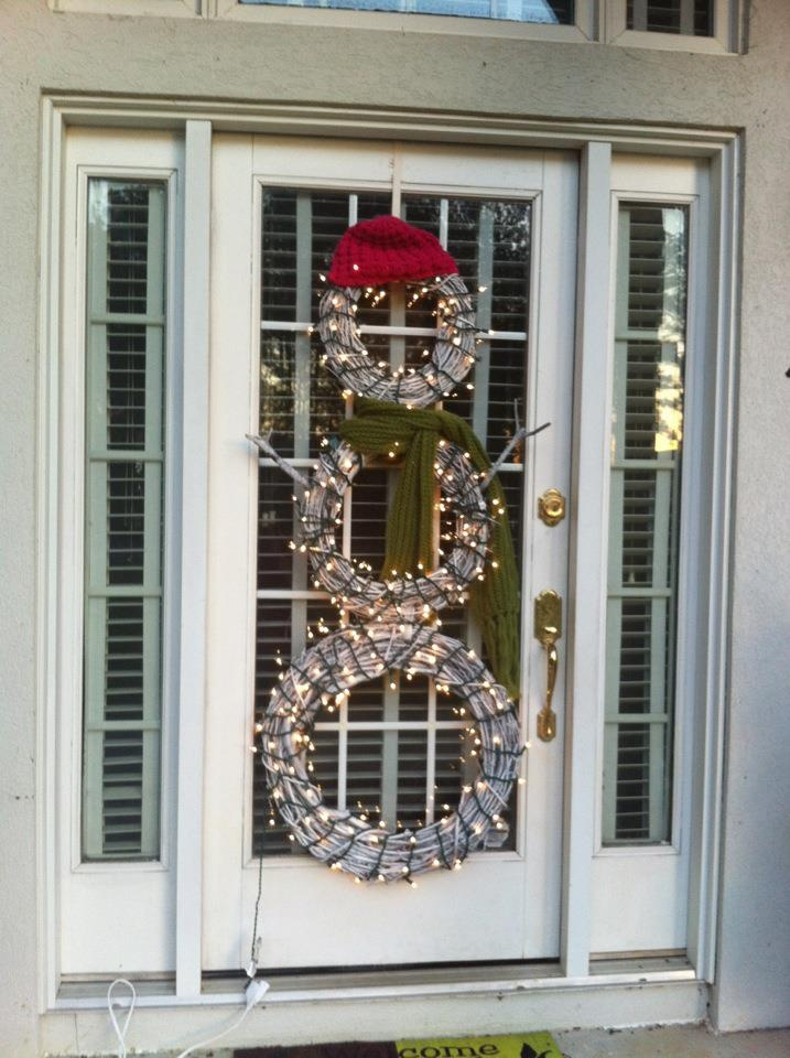 January Snowman For The Front Door Made From 3 Grapevine