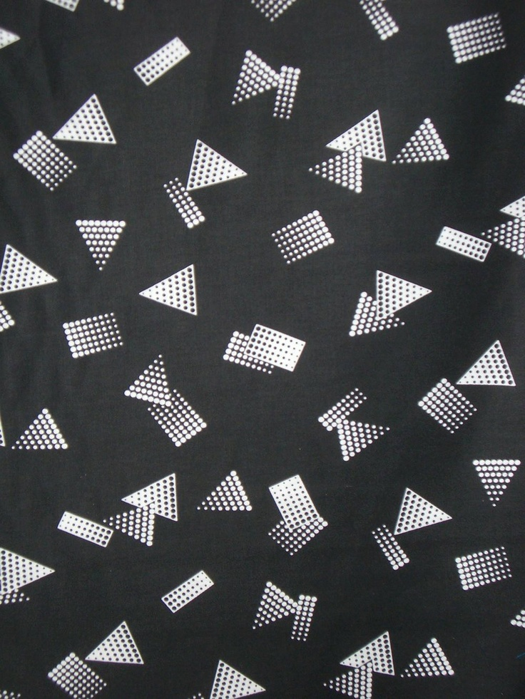 White on Jet Black Geometric Print Pure Cotton Sateen Fabric--One Yard.