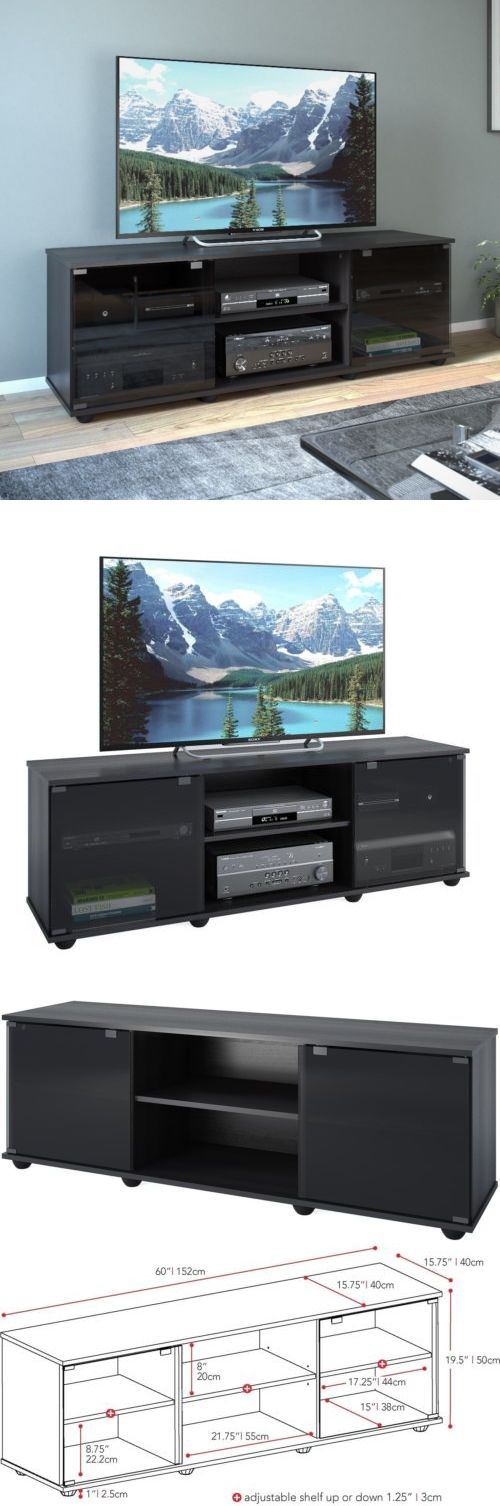 Entertainment Units TV Stands: Sonax Fiji Ravenwood Black 60 Inch Entertainment Center Contemporary Tv Stand BUY IT NOW ONLY: $163.81
