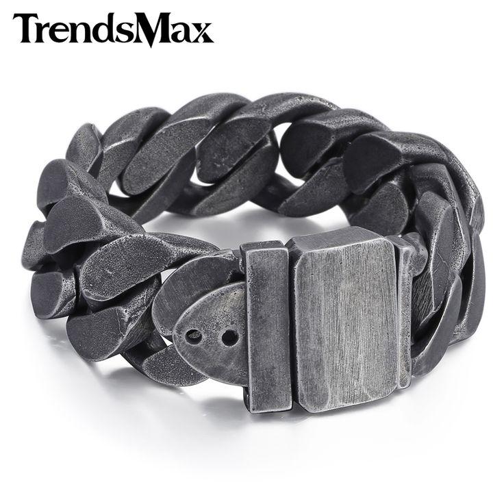 Trendsmax 24mm Length Adjustable Curb Link Gunmetal Tone 316L Stainless Steel Bracelet Mens Chain Boys Wristband Bangle HB333