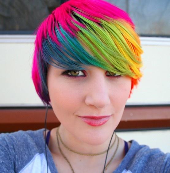 All above short rainbow hair
