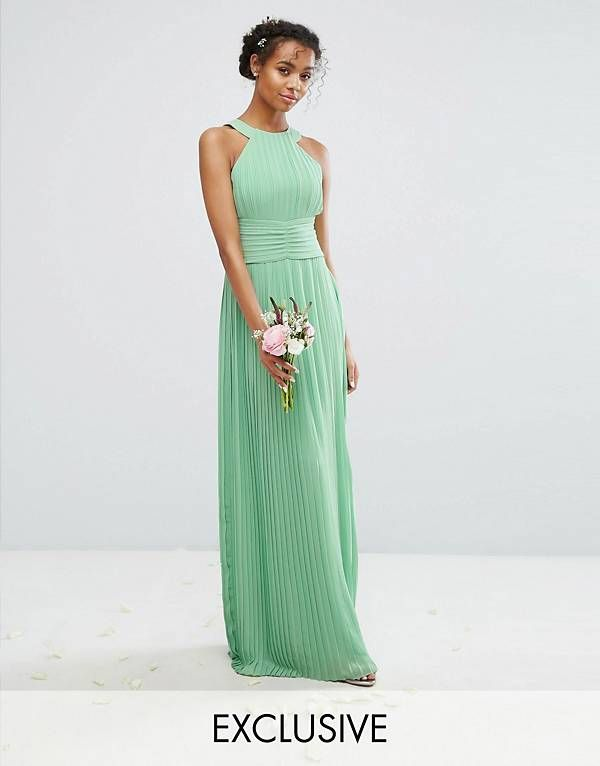 7b1f4ccd79 TFNC High Neck Pleated Maxi Bridesmaid Dress | I'm getting married ...