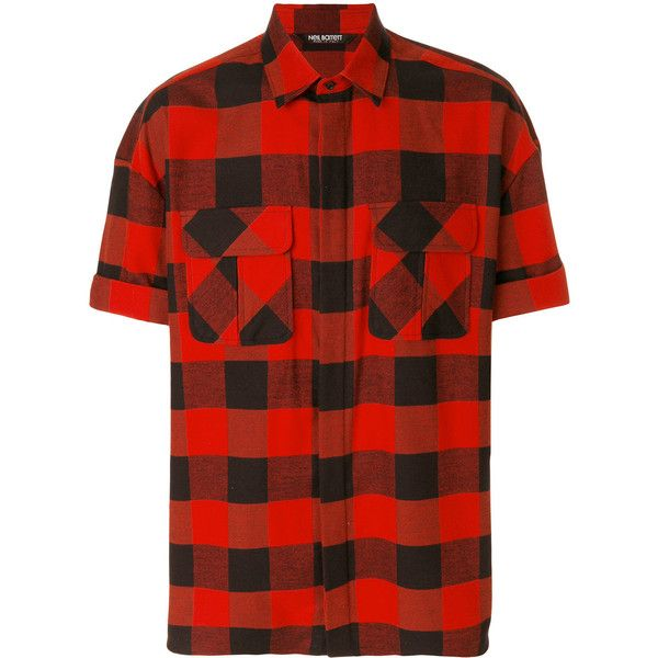 Neil Barrett Live and Let Live checked shirt ($250) ❤ liked on Polyvore featuring men's fashion, men's clothing, men's shirts, men's casual shirts, red, mens roll sleeve shirt, mens button front shirts, mens checkered shirts and mens red shirt