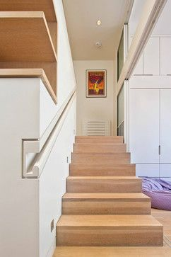 modern staircase with handrail recessed into the wall it is clean and efficient another trick to save a lit bit of extra space - Wall Railings Designs