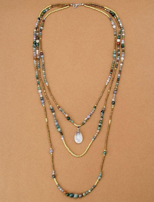Natural India Onyx with Seed Beads Teardop Boho Pendant