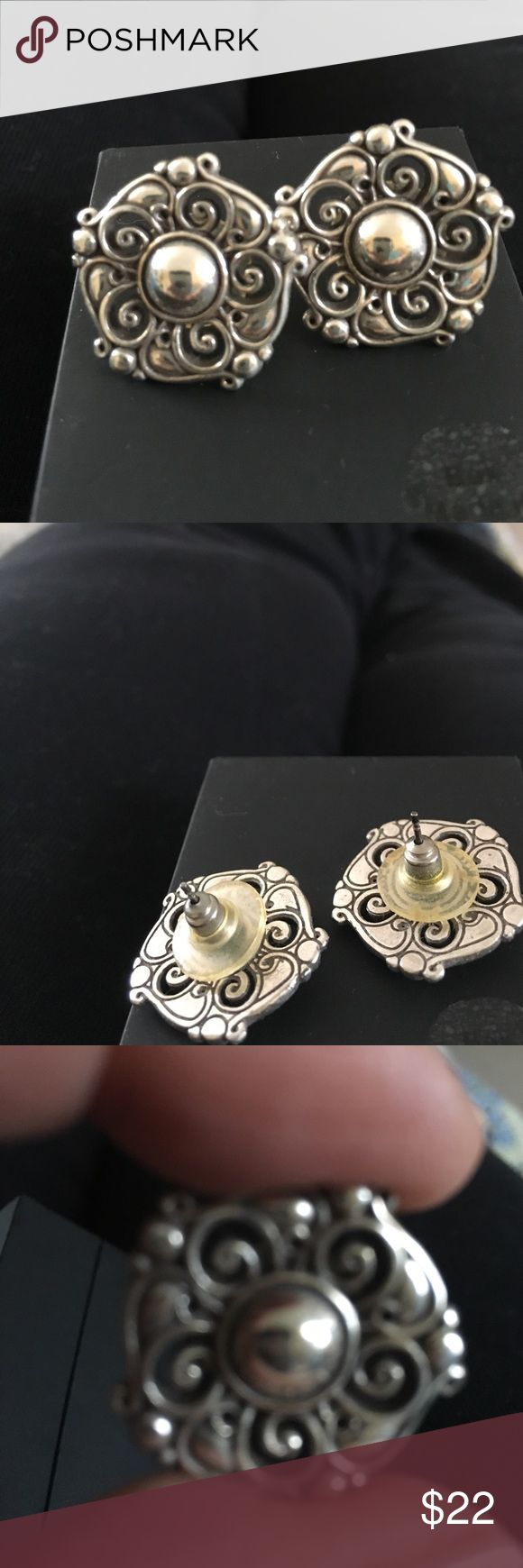 Brighton earrings post back Beautiful post back Brighton earrings round cut out design. Large enough to cover entire earlobe.  good used condition probably can use a little bit of polishing Brighton Jewelry Earrings