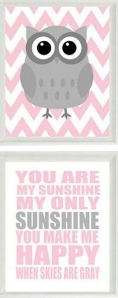 You Are My Sunshine Quote with Owls + Chevron // SO cUte!