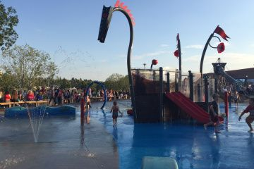 Remax Spray Park in Sherwood Park. Broadmoor Lake has a fantastic playground, and a spray park with three slides to get nice and wet on those hot days in Sherwood Park.