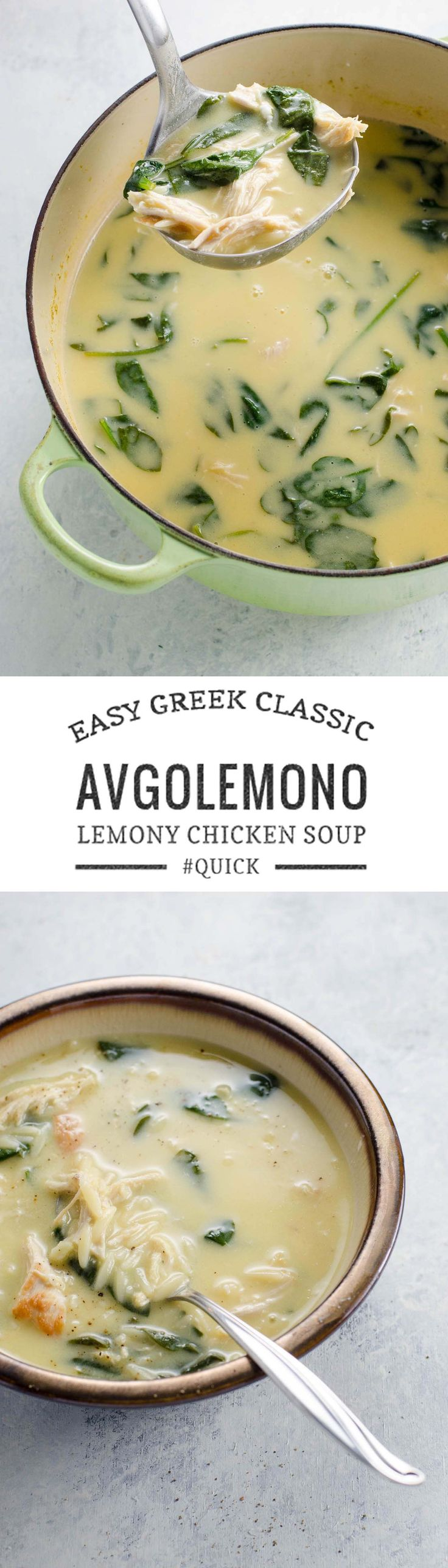 Avgolemono soup (Greek lemony chicken soup) with orzo and spinach is quick, easy and satisfying, made with only six ingredients in about 20 minutes. via @umamigirl