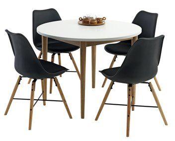 RISSKOV pöytä ja puinen KLARUP tuoli, kankainen istuin | JYSK