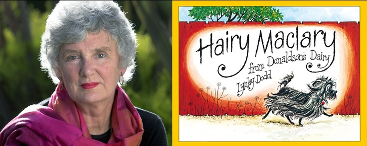 Cover of 'Hairy Maclary from Donaldson's Dairy' by Lynley Dodd, and photographs of the author.