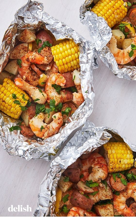 Grilled shrimp aluminum packages    – Grilled foil packets