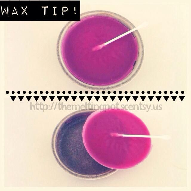 Scentsy Wax Tip Turn off your warmer, place a q-tip in and allow to harden. Then, lift out by pulling the q-tip! Find out more tips at http://www.facebook.com/jacqui.meltingpot #scentsy #tips #icanhelp