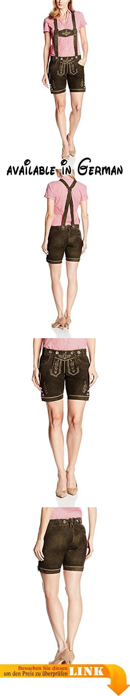 Gaudi-Leathers Damen Trachten Lederhose Normi Shorts kurz mit Träger in Braun (Dunkelbraun 015), W33 (Herstellergröße: 36). Klassische Damen Trachten Lederhose aus Ziegenveloursleder in dunkelbraun mit ausgefallener Stickerei, hübschen Hornknöpfen und farblich passenden Paspeln.. Die kurze Lederhose hat zwei vordere und eine hintere Einschubtasche, eine Messertasche und natürlich den Brotzeitzwickel zum Anpassen der Bundweite. Das hochwertige Ziegenveloursleder dieser