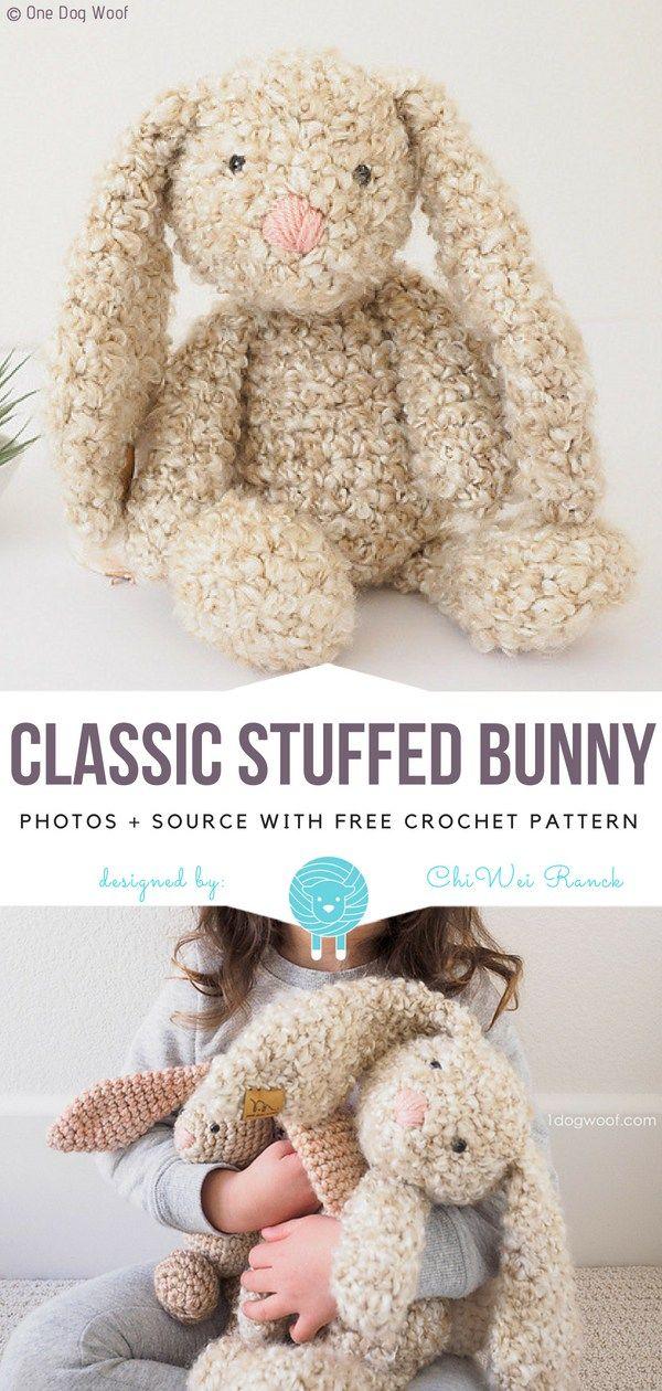 Classic Stuffed Bunny Free Crochet Pattern   Amigurumi free pattern ...