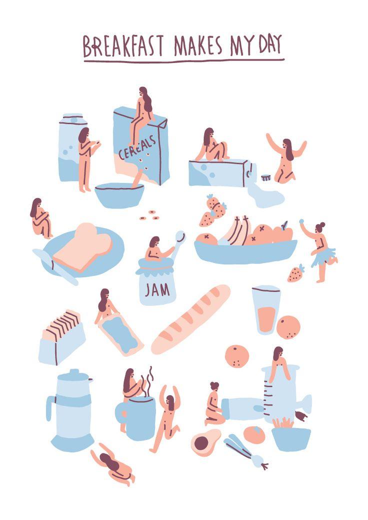 Sara Maese #illustration breakfast makes my day. Girl, food.