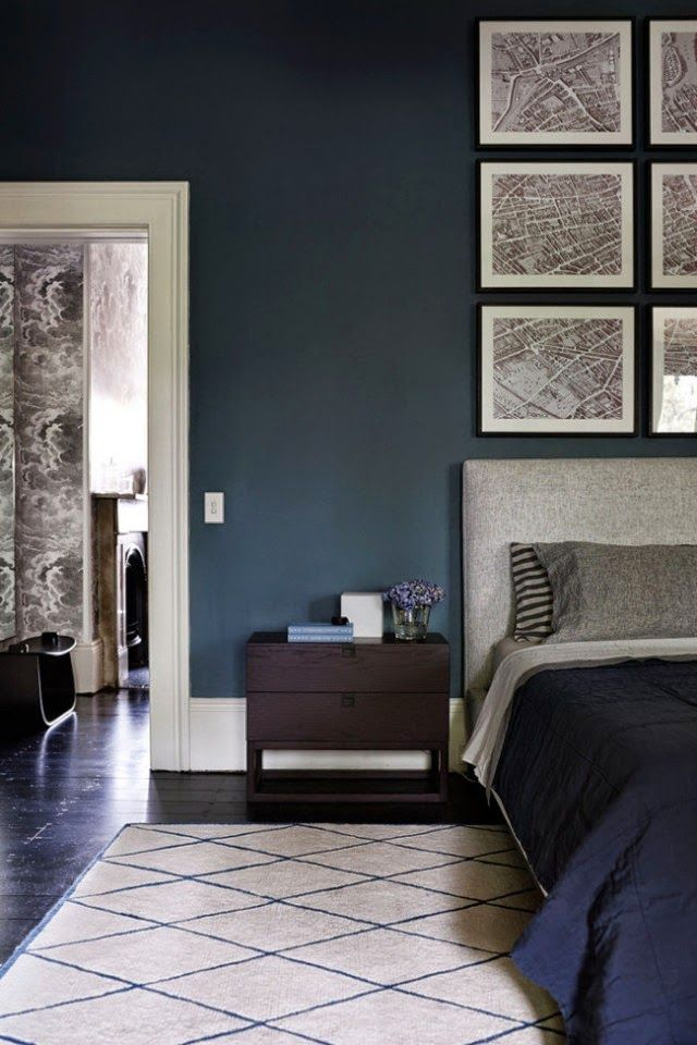 Dark indigo blue bedroom, Moroccan rug, Charlotte Minty Interior Design: A Beautifully Restored Sydney Home