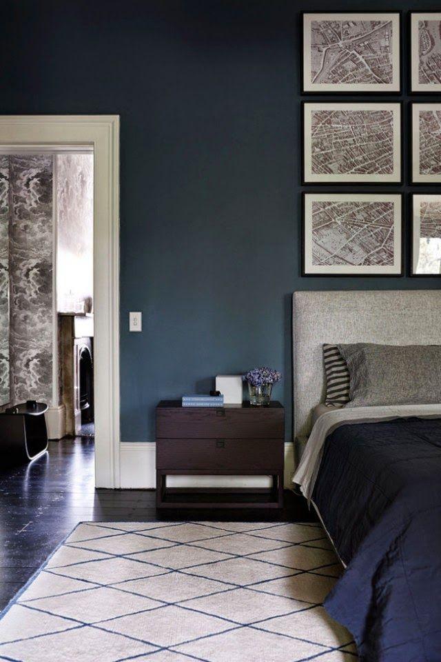Dark indigo blue bedroom, Moroccan rug, Charlotte Minty Interior Design: A Beautifully Restored Sydney Home
