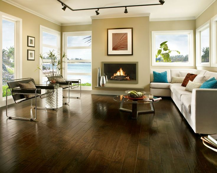 Frontier Color Brushed Tumbleweed | Living Room | Hardwood Floors |  Fireplace | Home Decor Ideas