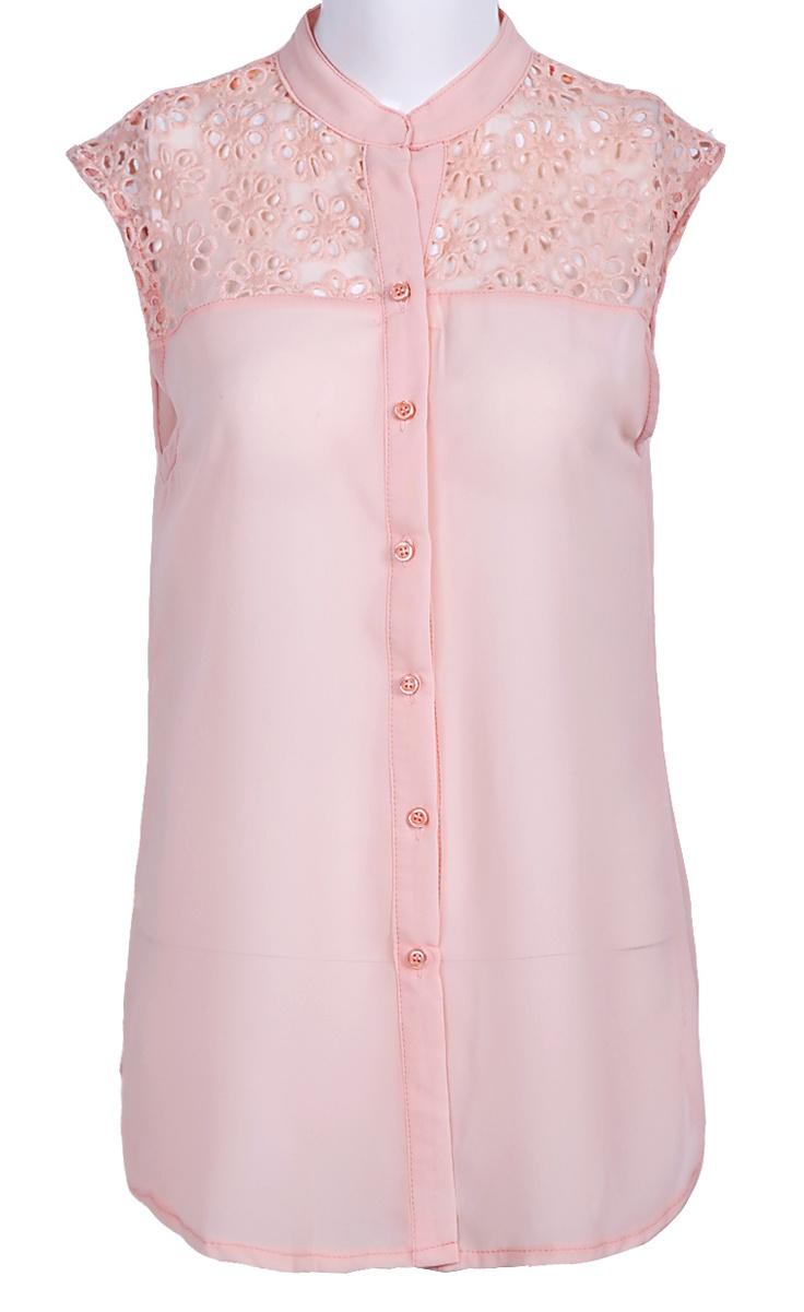 Pink Sleeveless Lace Shoulder Chiffon Blouse #sheinside