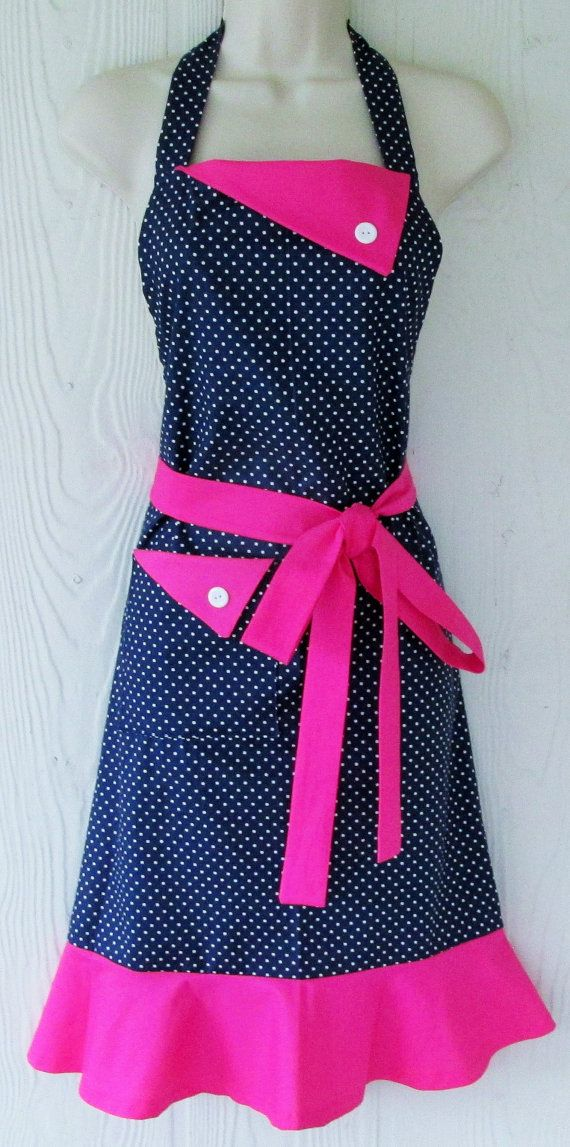 Delightful Polka Dot Apron, Navy And White Polka Dots, Hot Pink Apron, Vintage Style Part 20