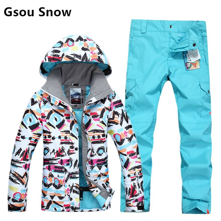 Gsou Snow Winter sports ski jackets women graffiti print snowboard jacket snow skiing veste ski jas dames femme -30 degree