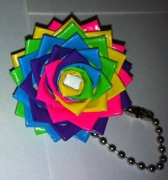 Duct Tape flower key chane cool[ rainbow]