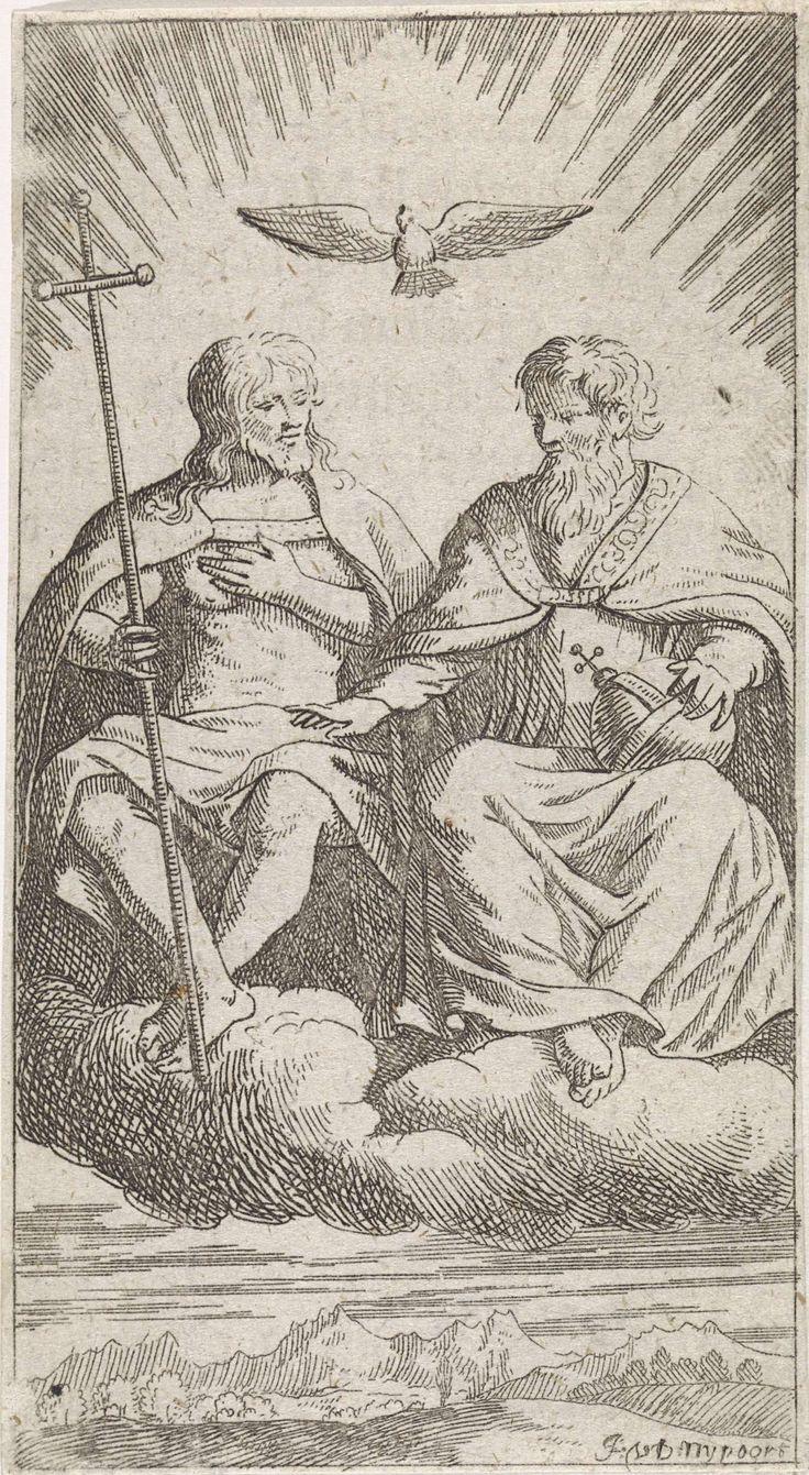 Justus van den Nijpoort | Drie-eenheid op de wolken, Justus van den Nijpoort, 1635 - 1692 | De Drie-eenheid. Christus zit aan de rechterhand van God de Vader op een wolk. Beiden dragen zij een koningsmantel. Christus heeft een kruis in de hand, God de Vader heeft een rijksappel op schoot. Boven hen zweeft de duif van de Heilige Geest. Onder hen ligt een berglandschap.