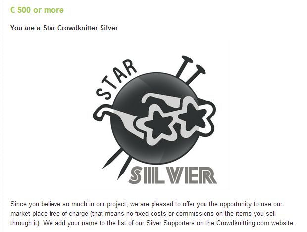 Star Crowdknitting SILVER, crowdfunding campaign @Indiegogo http://www.indiegogo.com/projects/crowdknitting-community