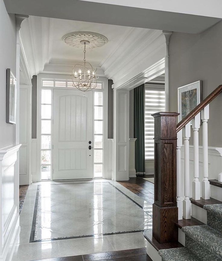 Classic Foyer Tile : Drawing room space n stairs upper front floor