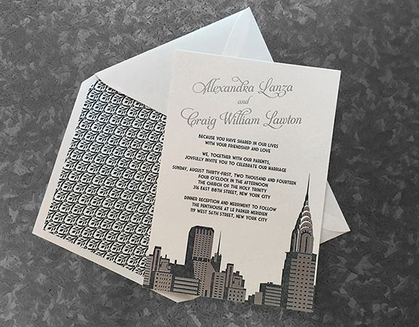NYC Skyline Invitation with Foil Details   Chrysler Building   Designed by Fat Cat Paperie