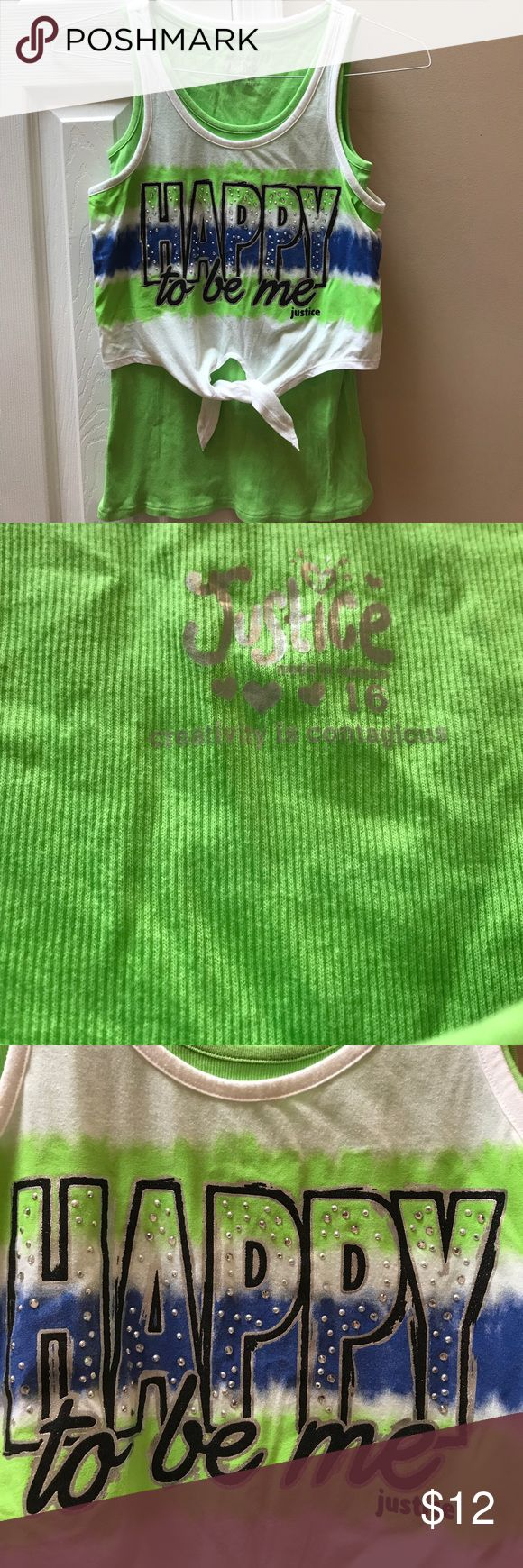 """Justice girls size 16 tank Double layer tank. Bottom is a fun lime green over tank has blue and green and white.  Says """"Happy to be me"""". Justice Shirts & Tops Tank Tops"""