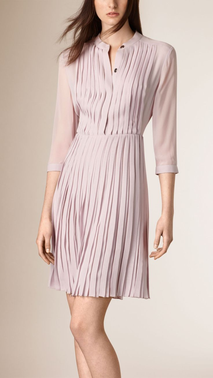 Pleated Silk Dress Thistle Pink | Burberry