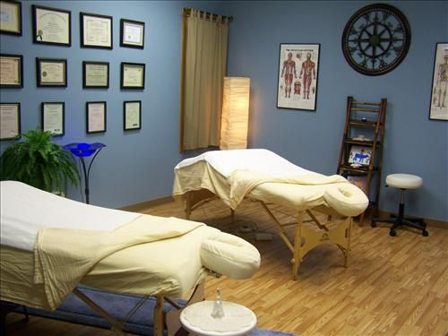massage therapy room - love the blue