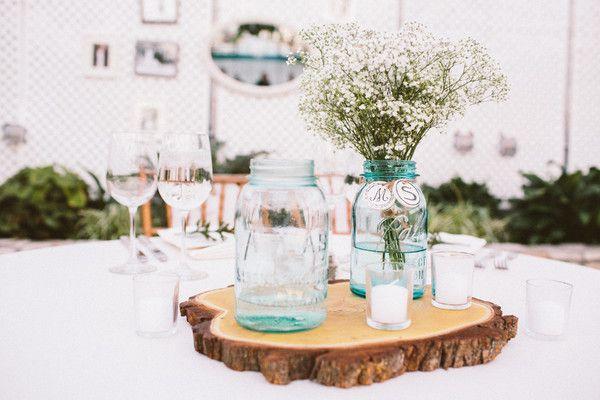 blue mason jars and babys breath Pennsylvania Greenhouse Wedding     Wedding Real Weddings Photos on WeddingWire
