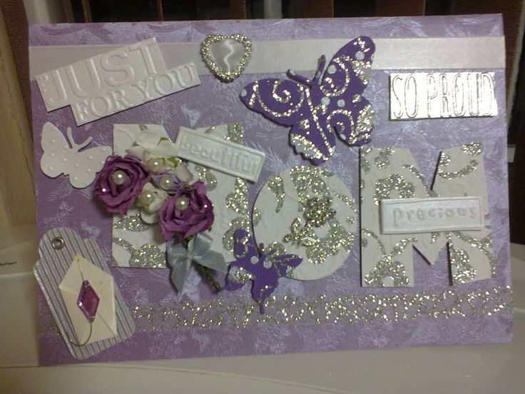 Personalized Lilac, Purple, Silver And White Mom Card