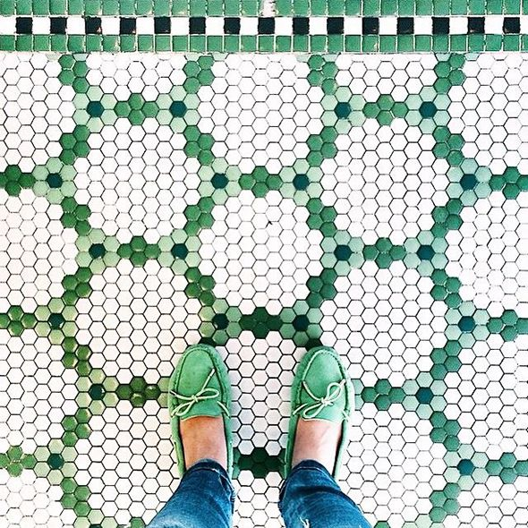 green hexagonal tile
