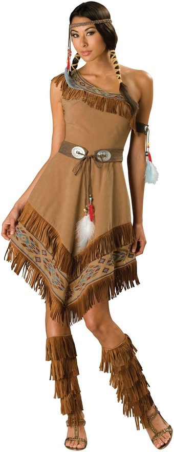 How can any Indian brave resist this simply sexy outfit?? Includes: Dress, Boot Tops, Belt, Armband, Headpiece. Shoes and Ties are not included. Available in Adult Sizes: Medium, Large, X-Large. The p