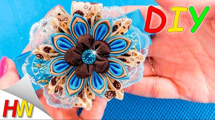 Резинки Канзаши. Канзаши для начинающих. DIY Scrunchy with Kanzashi flower