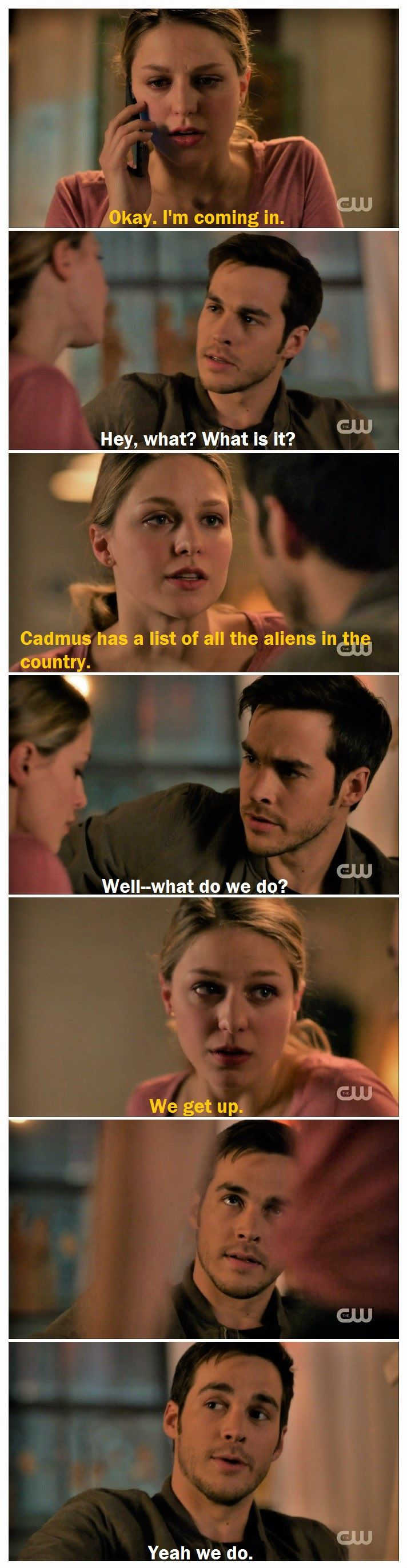 """The kissing and cuddling was cute, but this is why I <3 Kara and Mon-El together so much. Teamwork is my favorite, and Mon-El matches Kara in a way no one else can (strength, stubbornness, heart, etc.). I'm a sucker for fighting-side-by-side couples, and these two just keep getting better and better. 